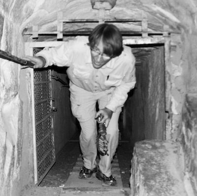 Alan Sheets climbing to the Kings Chamber in the Great Pyramid