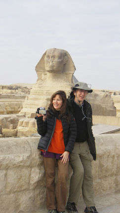 Siska and Alan standing in front of the Sphinx in Egypt